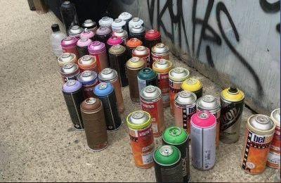 Blenheim Grove graffiti paint cans