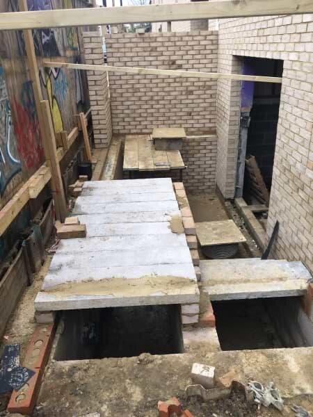 Blenheim Grove courtyard construction
