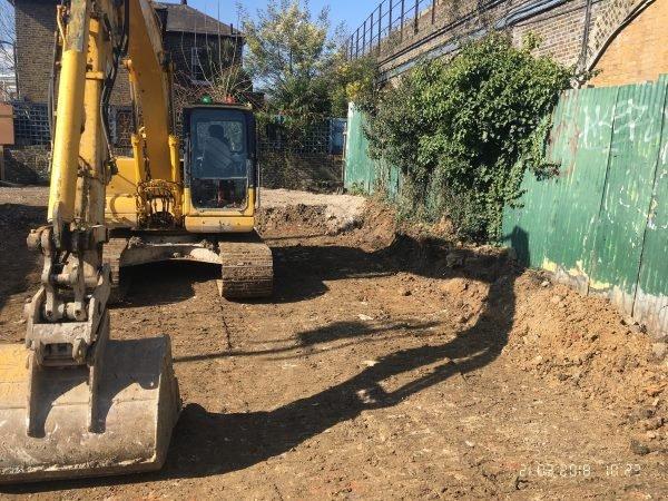Blenheim Grove digger on site