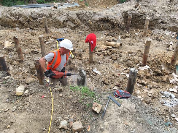 Blenheim Grove cutting off pilings